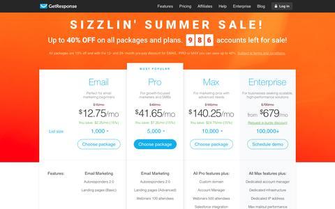 Screenshot of Pricing Page getresponse.com - Pricing options - email marketing - GetResponse - captured June 20, 2016
