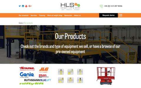 Screenshot of Products Page hls.co - HLS supply a full range of equipment for working at height - captured Sept. 28, 2018