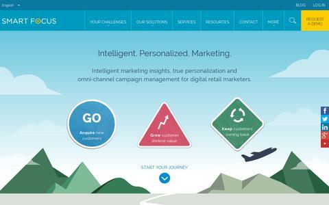 Screenshot of Home Page smartfocus.com - SmartFocus | Intelligent. Personalized. Marketing. - captured July 11, 2014
