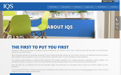 Screenshot of About Page iqs.com - About | IQS, Inc. - captured Nov. 19, 2016