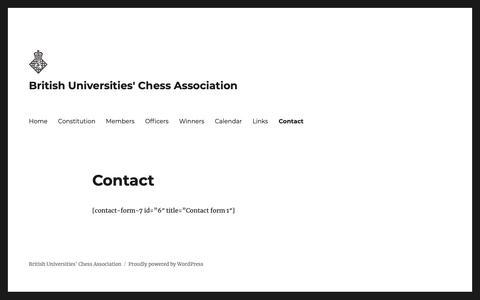 Screenshot of Contact Page buca.org.uk - Contact – British Universities' Chess Association - captured Oct. 6, 2018