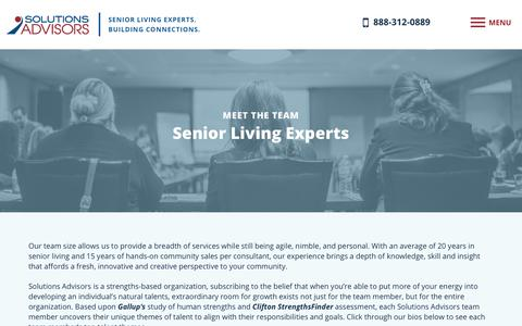 Screenshot of Team Page solutions-advisors.com - Senior Living Consultants & Experts | Solutions Advisors - captured Nov. 12, 2017
