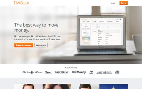 Screenshot of Home Page dwolla.com - Send money online | Dwolla - captured Jan. 15, 2015