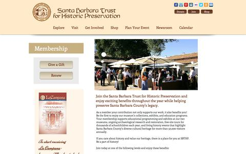 Screenshot of Signup Page sbthp.org - Santa Barbara Trust for Historic Preservation   Membership - captured Oct. 2, 2018