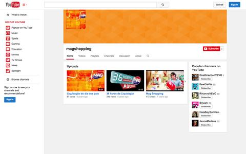 Screenshot of YouTube Page youtube.com - magshopping  - YouTube - captured Oct. 23, 2014