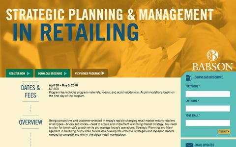 Screenshot of Landing Page babson.edu - Strategic Planning and Management in Retailing - captured Aug. 26, 2016