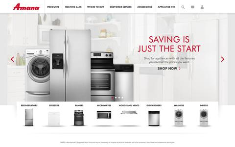 Screenshot of Products Page amana.com - Amana | Amana Appliances - captured Nov. 3, 2014