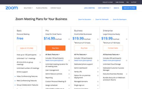 Screenshot of Pricing Page zoom.us - Plans and Pricing - Zoom - captured Jan. 20, 2018