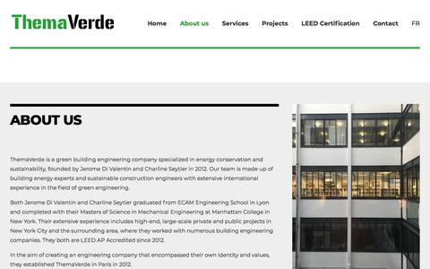 Screenshot of About Page themaverde.fr - Themaverde agency, LEED certification specialists - captured Sept. 21, 2018