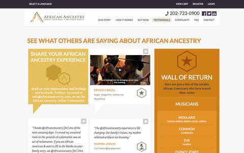 Screenshot of Testimonials Page africanancestry.com - African Ancestry – Trace Your DNA. Find Your Roots. Today. - captured Sept. 19, 2014