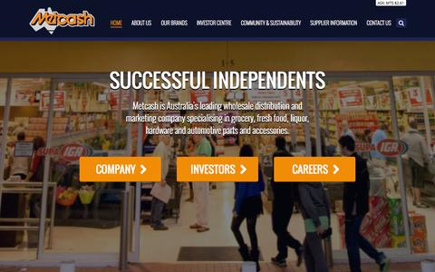 Screenshot of Home Page metcash.com - Metcash Limited. Successful Independents - captured Sept. 30, 2014
