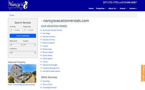 Screenshot of Site Map Page nancysvacationrentals.com captured Jan. 10, 2016