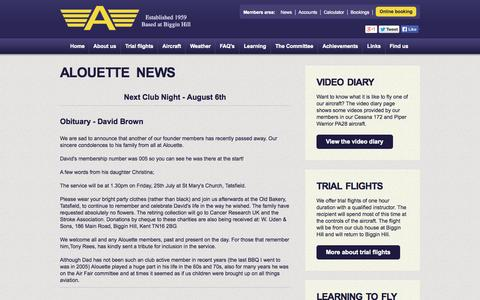 Screenshot of Press Page alouette.org.uk - Alouette Flying Club - Latest news - captured Oct. 4, 2014