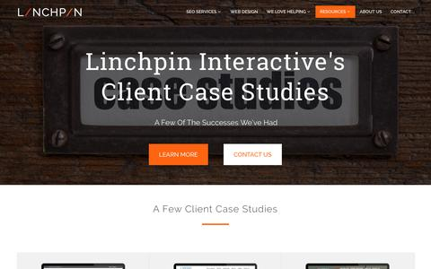 Screenshot of Case Studies Page linchpinseo.com - Linchpin Client Case Studies - captured Sept. 17, 2016