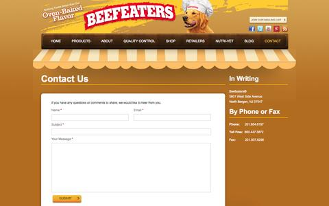Screenshot of Contact Page beefeaters.com - Contact Us | Beefeaters - captured Oct. 2, 2014