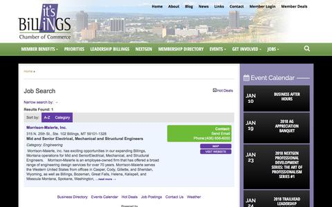 Screenshot of Jobs Page billingschamber.com - Job Search - Billings Chamber of Commerce - captured Jan. 3, 2018
