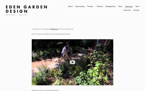 Screenshot of Press Page edenaustin.com - Interviews — Eden Garden Design - captured Oct. 2, 2014