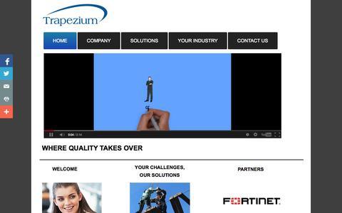 Screenshot of Home Page trapeziumme.com - Trapezium Egypt - Avaya Partner in Egypt, Juniper Partner In Egypt, Microsoft Partner In Egypt - captured Oct. 7, 2014