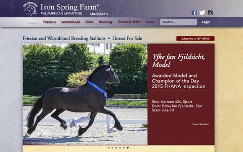 Screenshot of Home Page ironspringfarm.com - Iron Spring Farm Warmblood and Friesian Stallions and Horses For Sale - captured Jan. 9, 2016