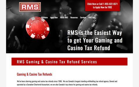 Screenshot of Services Page refundmanagement.com - Canada's Gaming & Casino Tax Refund Service | RMS - captured Nov. 7, 2017
