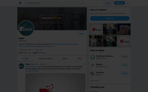 Tweets by Esker (@EskerInc) – Twitter