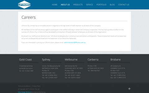 Screenshot of Jobs Page liftronic.com.au - Careers - Liftronic Lifts - captured Sept. 28, 2018