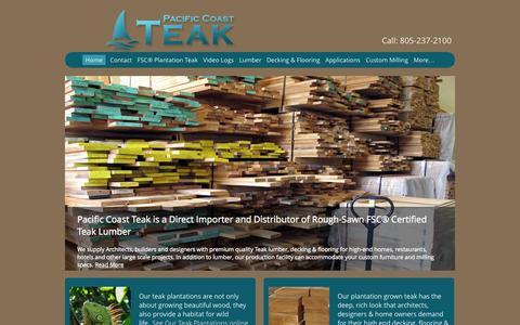 Screenshot of Home Page pacificcoastteak.com - Pacific Coast Teak | Teak Wood –  FSC Plantation Grown Teak Lumber - captured Sept. 26, 2014
