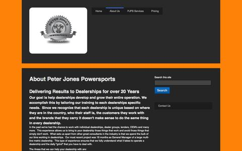 Screenshot of About Page peterjonespowersports.com - About Us - captured Sept. 29, 2014