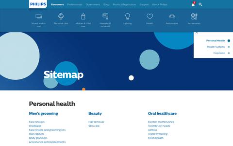 Screenshot of Site Map Page philips.com - Philips | Sitemap - captured Nov. 21, 2018