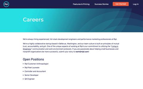 Screenshot of Jobs Page ripl.com - Working at Ripl and Open Jobs - captured Nov. 1, 2018
