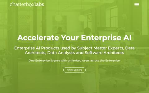 Screenshot of Home Page chatterbox.co - Chatterbox Labs – Enterprise AI Software - captured March 13, 2019