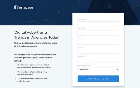 Screenshot of Landing Page instapage.com - Digital Advertising Trends in Agencies Today - captured Nov. 9, 2018