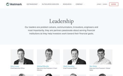 Screenshot of Team Page vestmark.com - Leadership | Vestmark - captured Oct. 2, 2019