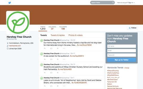 Screenshot of Twitter Page twitter.com - Hershey Free Church (@HersheyFree) | Twitter - captured Oct. 22, 2014