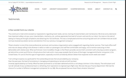 Screenshot of Testimonials Page polarisaviation.com - What Our Clients Say - captured Nov. 10, 2018
