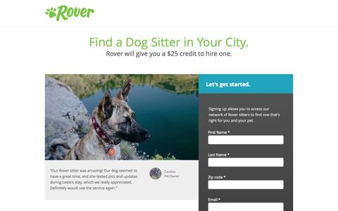 Screenshot of Landing Page rover.com - Dog Sitter for Hire - Rover - captured Oct. 27, 2015