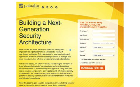 Screenshot of Landing Page paloaltonetworks.com - Building a Next-Generation Security Architecture - captured Feb. 16, 2016