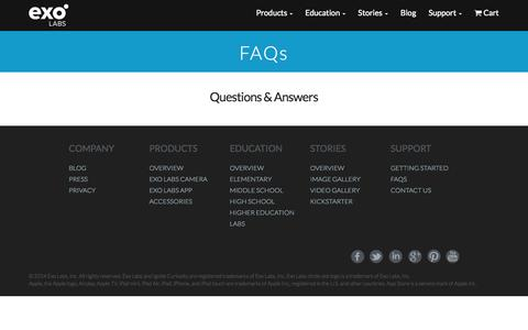 Screenshot of FAQ Page exolabs.com - Exo Labs  | FAQs | Exo Labs Microscope Camera - captured Sept. 16, 2014