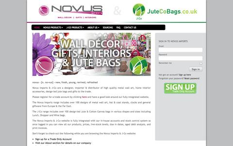 Screenshot of Home Page novusimports.com - Novus Imports - Wholesale giftware, wall decor and home interiors - captured Oct. 7, 2014