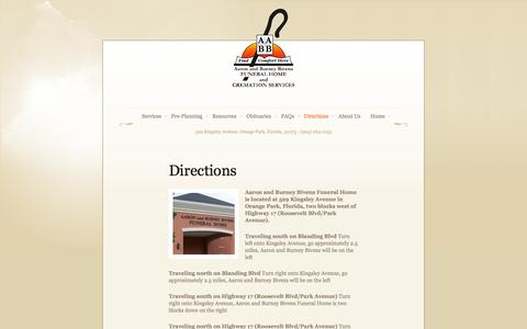 Screenshot of Maps & Directions Page bivensfuneralhome.com - Directions - captured Oct. 4, 2014