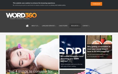 Screenshot of Blog word360.co.uk - Articles | Translation and Interpreting Services | WORD360 Language Services - captured Nov. 16, 2018