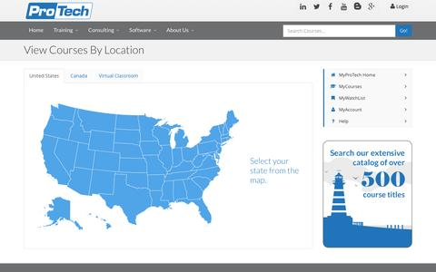 Screenshot of Locations Page protechtraining.com - View Course Locations - captured July 18, 2016