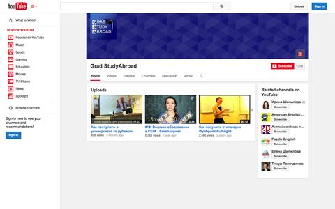 Screenshot of YouTube Page youtube.com - Grad StudyAbroad  - YouTube - captured Nov. 3, 2014