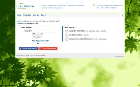 Screenshot of Login Page lizhibowa.co.zw - Sign In - captured Oct. 2, 2014