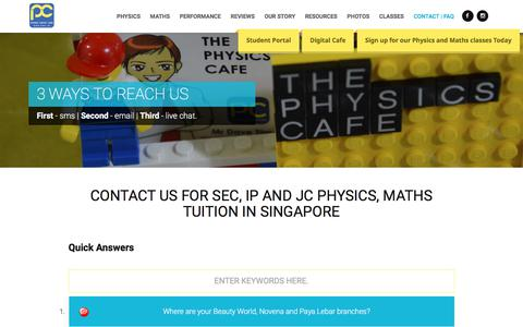 Screenshot of Contact Page FAQ Page thephysicscafe.com - IP, JC Physics & Maths Tuition Singapore | Contact Us - captured Feb. 2, 2018