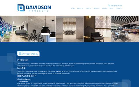 Screenshot of Privacy Page davidsonprojects.com.au - Privacy Policy - Davidson Projects - captured Nov. 13, 2018