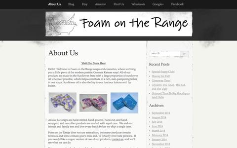 Screenshot of Home Page About Page foamontherange.net - Foam on the Range   A little piece of the modern prairie – handmade soaps, lotions and more! - captured Sept. 30, 2014