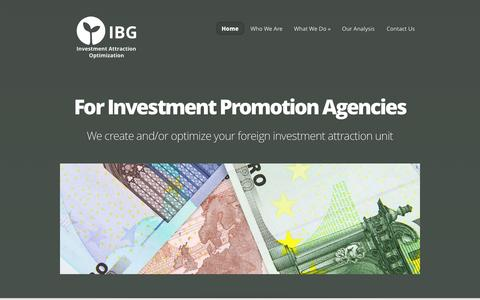 Screenshot of Home Page ibg-investment-attraction.com - IBG | Investment Attraction Optimization - captured Oct. 3, 2014