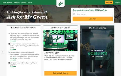 Screenshot of Home Page mrgreen.com - Mr Green - The Award Winning Online Casino - captured July 22, 2017