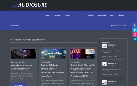 Screenshot of Case Studies Page audiosure.co.za - Case Studies | Audiosure - captured May 31, 2017